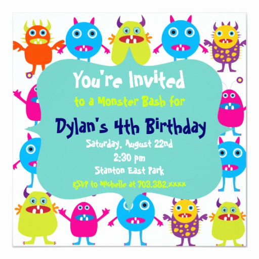 Monster Birthday Invitation Template Awesome Cute Monster Birthday Party Invitation Templates