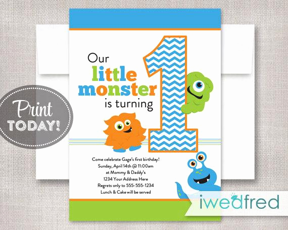 Monster Birthday Invitation Template Awesome Little Monster Invitation Birthday Printable Template First