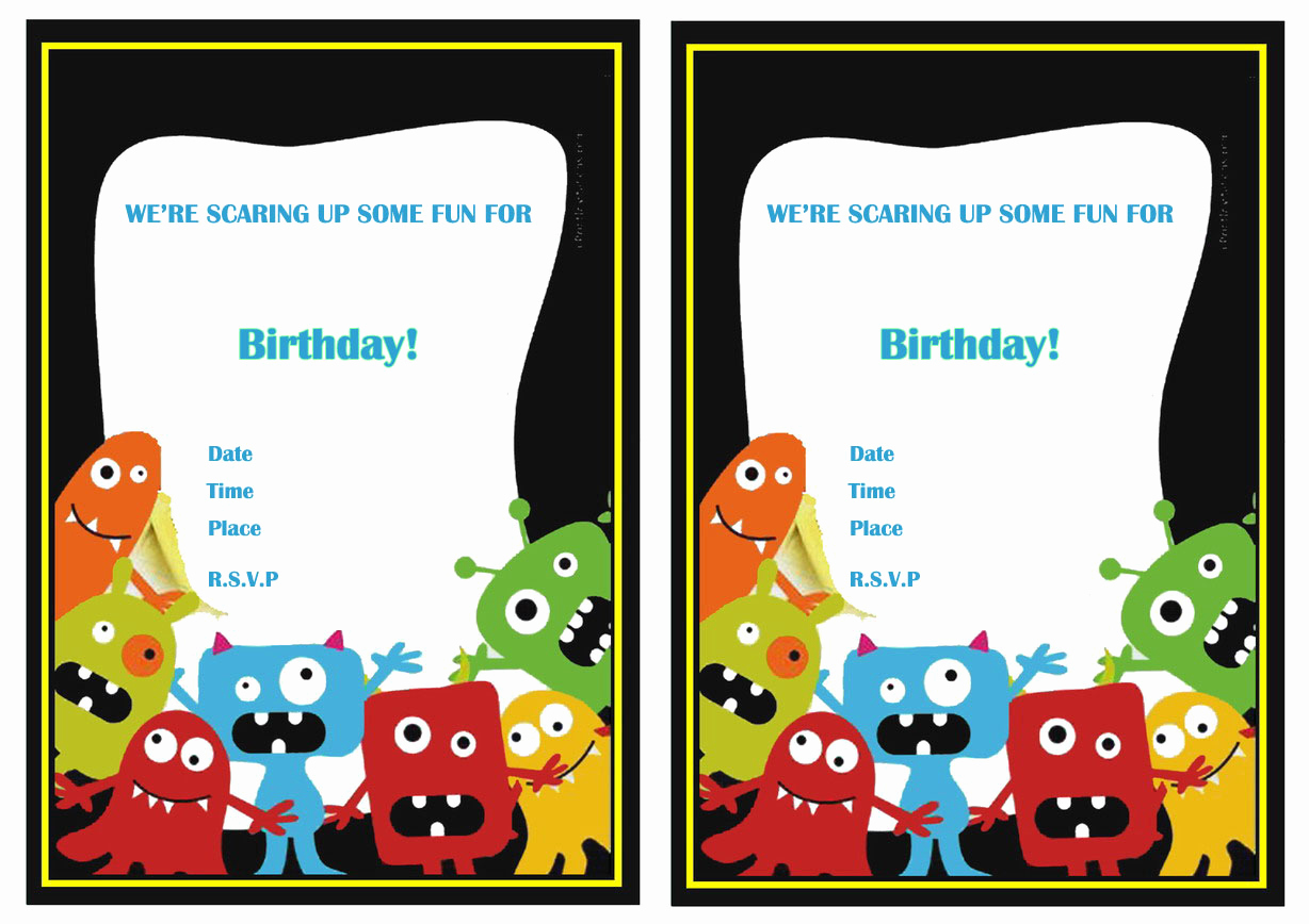 Monster Birthday Invitation Template Awesome Monsters University Birthday Invitations
