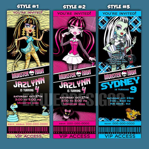 Monster Birthday Invitation Template Beautiful Monster High Invitation Printable Monster High Ticket