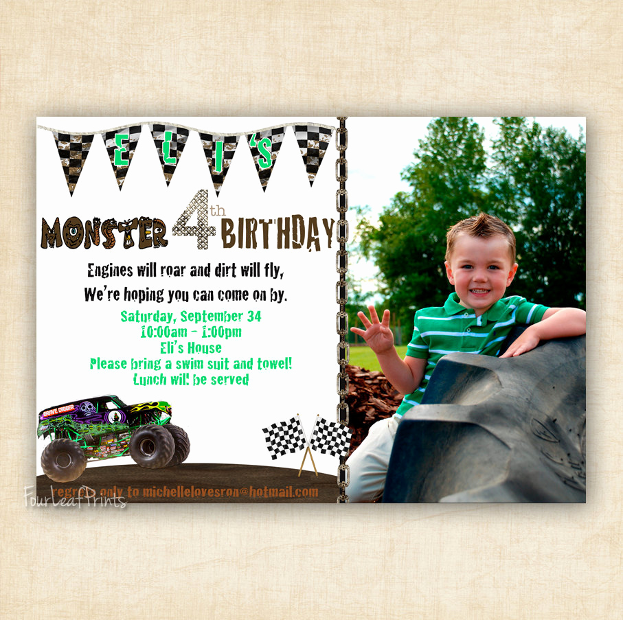 Monster Birthday Invitation Template Beautiful Monster Truck Birthday Invitation Printable by Fourleafprints