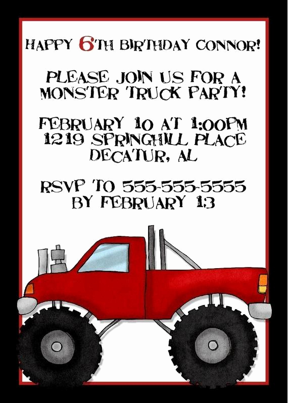 Monster Birthday Invitation Template Best Of Monster Truck Birthday Invitation 5x7 Digital by