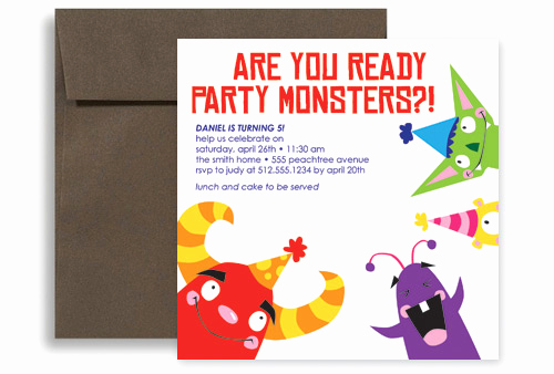 Monster Birthday Invitation Template Elegant Kids Party Monster Printable Birthday Invitation 5x5 In