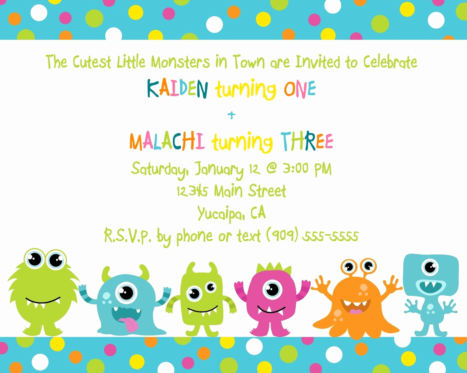 Monster Birthday Invitation Template Fresh Cute Little Monster Birthday Invitation Printable