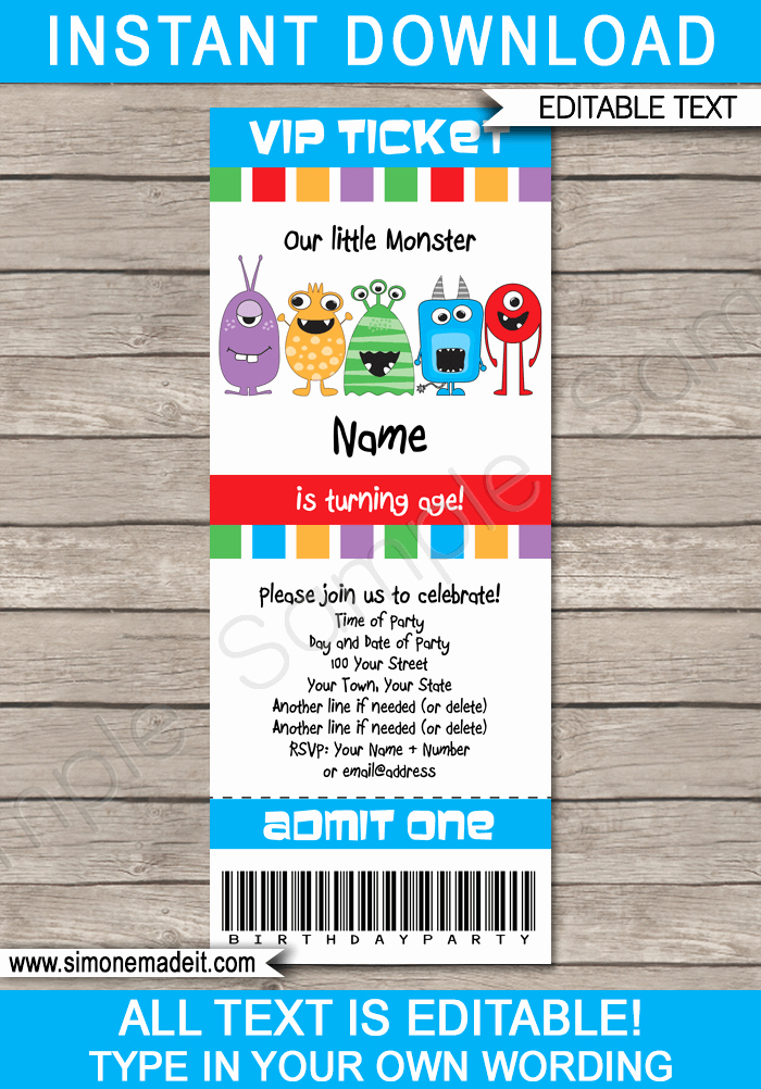 Monster Birthday Invitation Template Fresh Monster Party Ticket Invitation Template