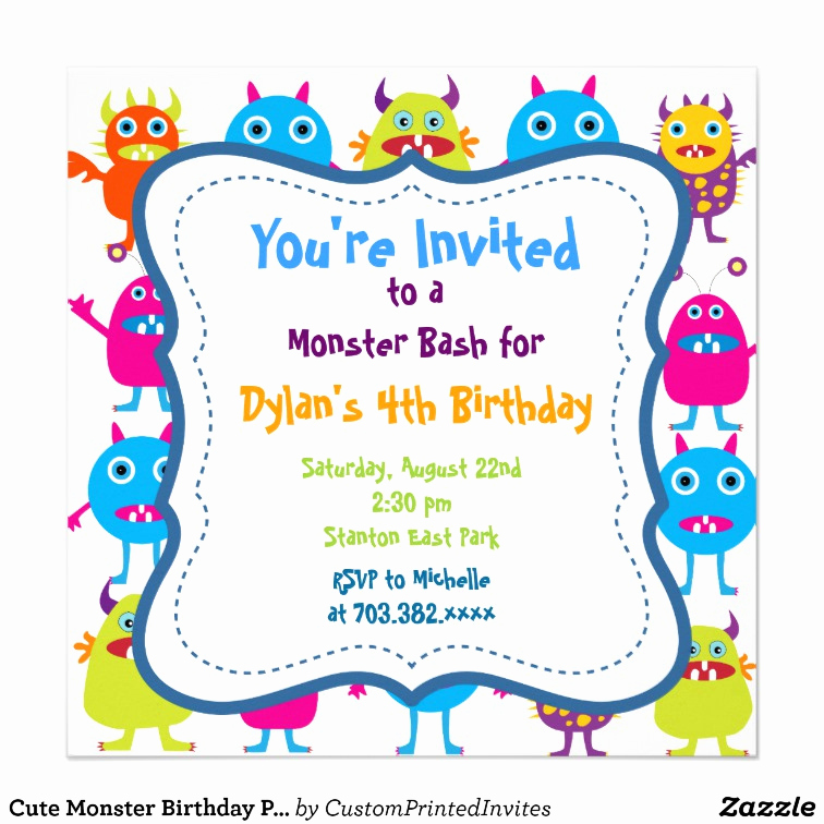 Monster Birthday Invitation Template Inspirational Cute Monster Birthday Party Invitation Templates