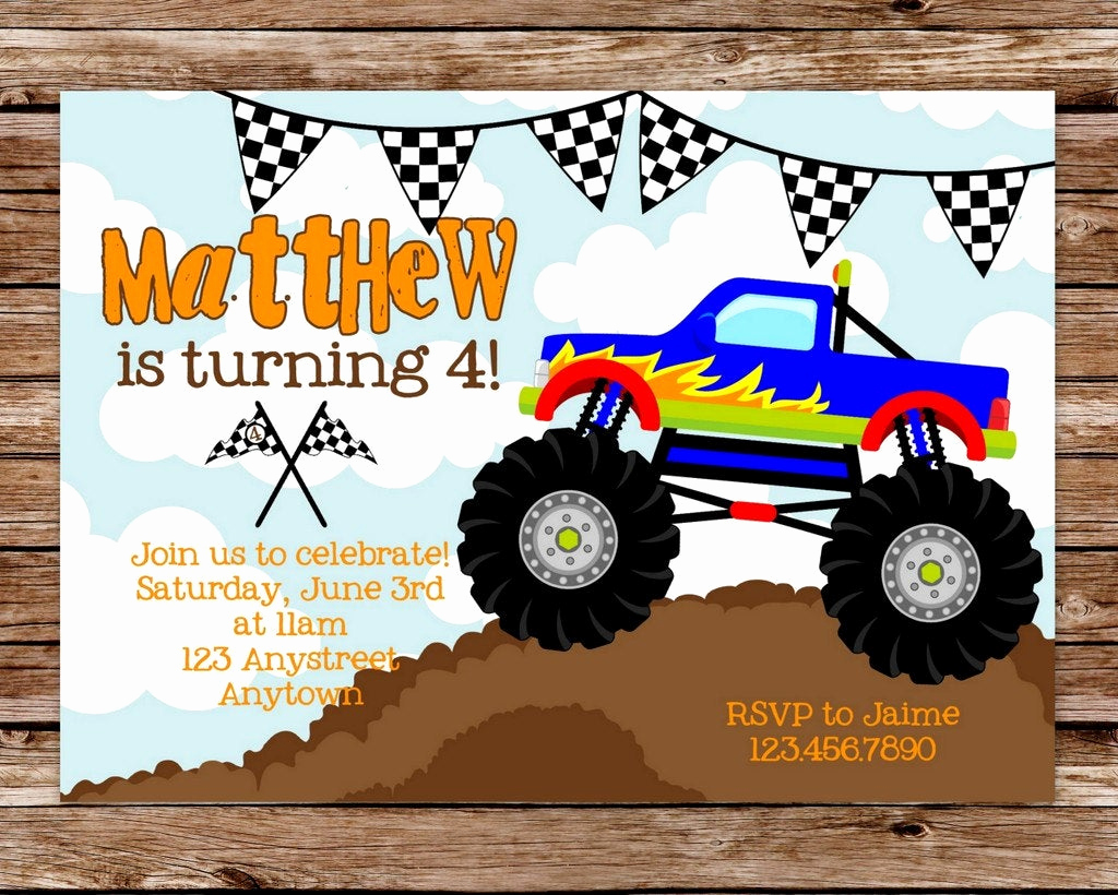Monster Birthday Invitation Template Inspirational Diy Printable Monster Truck Birthday Party by