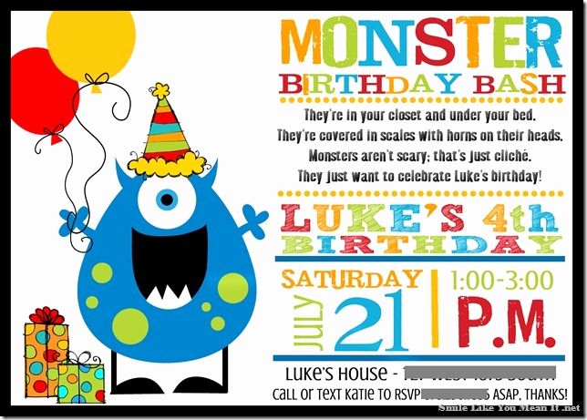Monster Birthday Invitation Template Inspirational Monster Birthday Invitations Ideas – Bagvania Free