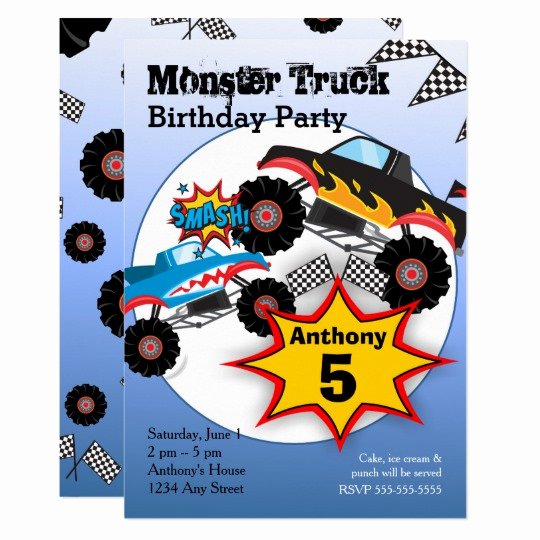 Monster Birthday Invitation Template Inspirational Monster Truck Kids Boys Birthday Party Invitation