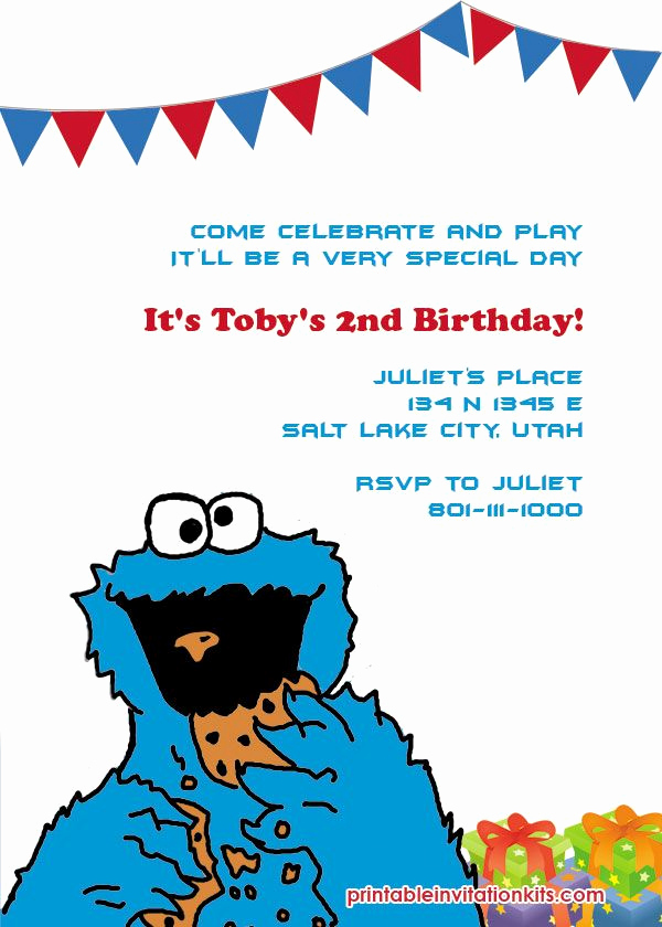 Monster Birthday Invitation Template Luxury Cookie Monster Invitation
