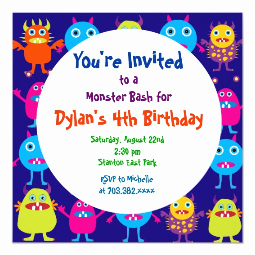 Monster Birthday Invitation Template Unique Cute Monster Birthday Party Invitation Templates