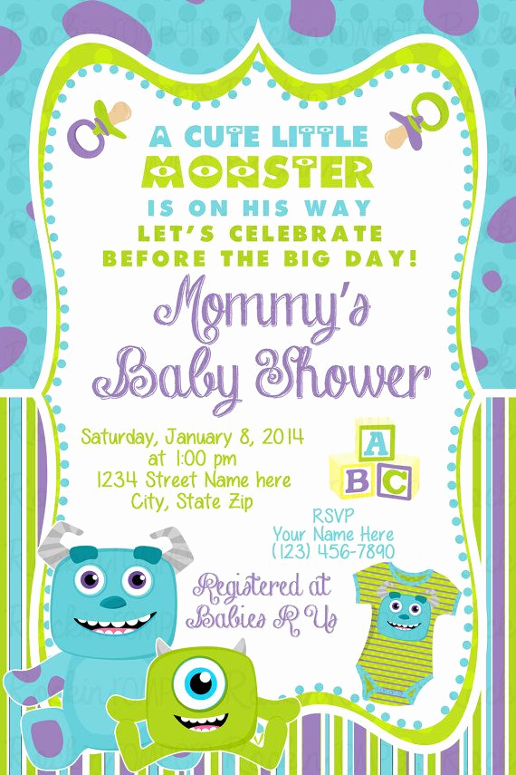 Monster Inc Invitation Template Awesome 25 Best Ideas About Monsters Inc Baby On Pinterest