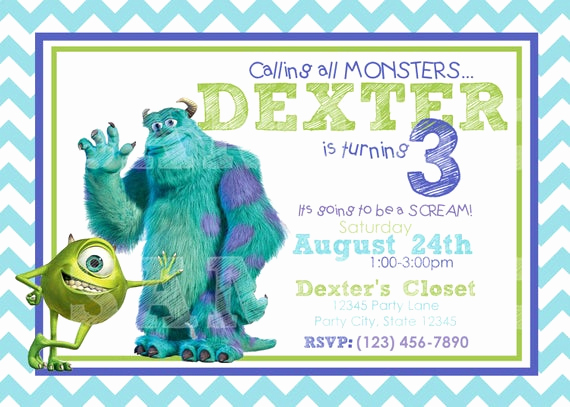 Monster Inc Invitation Template Awesome Etsy Your Place to and Sell All Things Handmade
