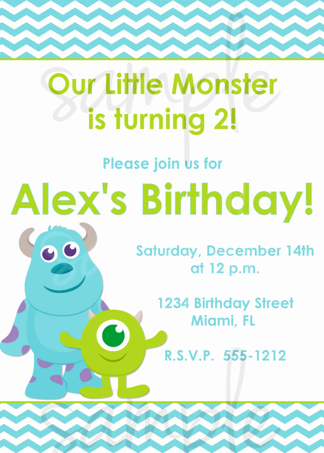 Monster Inc Invitation Template Awesome Monster Inc Birthday Invitation Inspired Monsters Inc