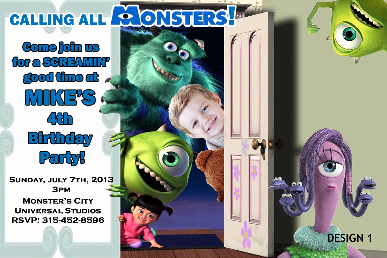Monster Inc Invitation Template Awesome Monsters Inc University Birthday Invitations