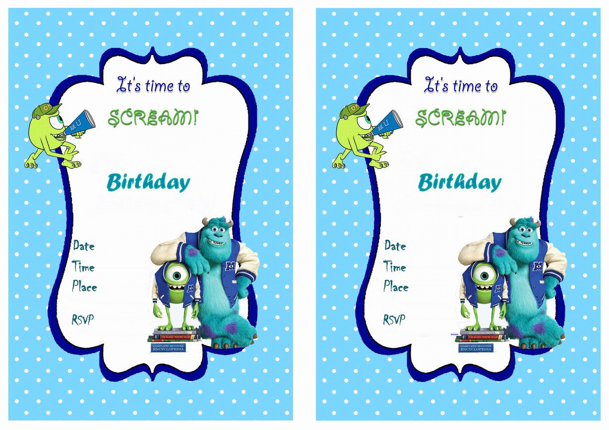 Monster Inc Invitation Template Awesome Monsters University Free Printable Birthday Party