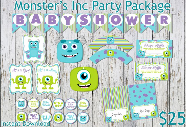 Monster Inc Invitation Template Beautiful Monsters Inc Inspired Baby Shower Party Package