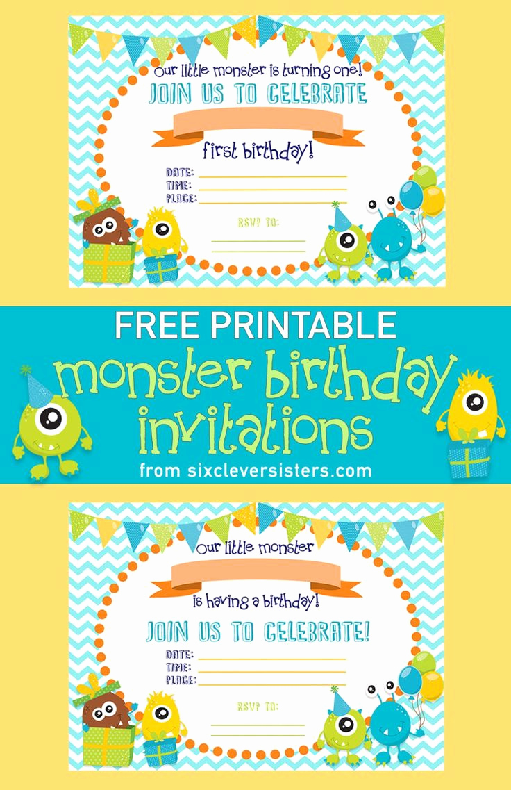 Monster Inc Invitation Template Best Of Best 25 Free Printable Birthday Invitations Ideas On