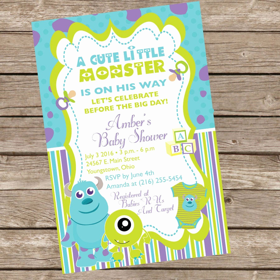 Monster Inc Invitation Template Best Of Monsters Inc Baby Shower Invitation by Trishatreedesigns