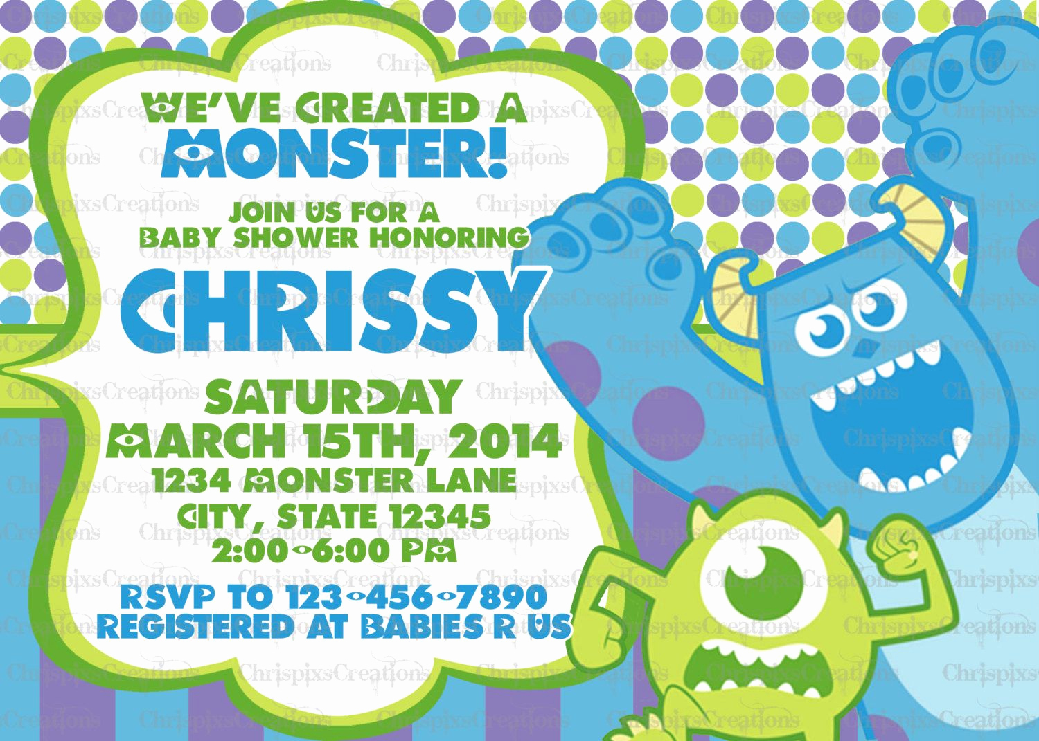 Monster Inc Invitation Template Best Of Monsters Inc Baby Shower Invitation Print at by