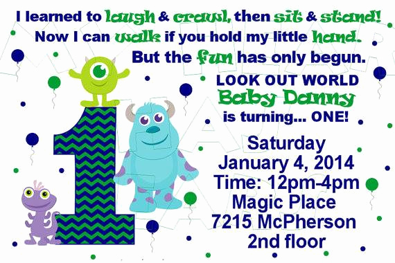 Monster Inc Invitation Template Elegant Baby Monsters Inc Birthday Custom Digital Invitation