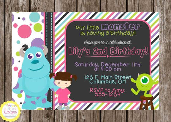 Monster Inc Invitation Template Elegant Printable Monsters Inc Chalkboard Birthday Invitation with