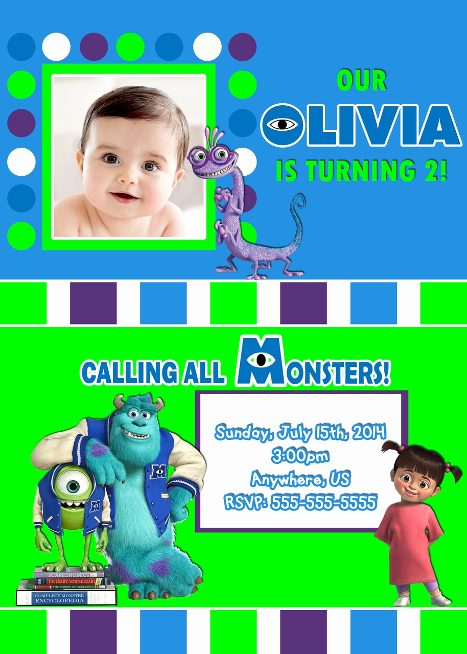 Monster Inc Invitation Template Fresh Monsters Inc University Birthday Invitations