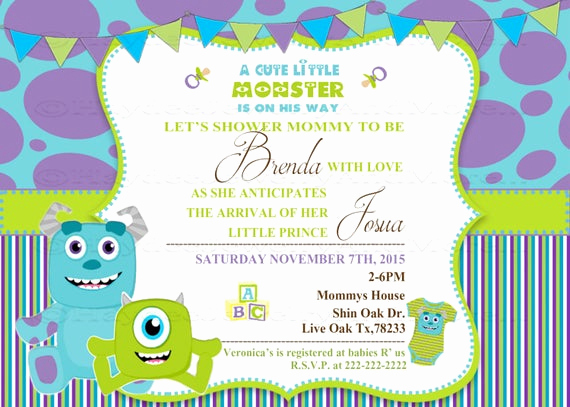 Monster Inc Invitation Template Inspirational Invitación De Ducha Baby Monster Inc