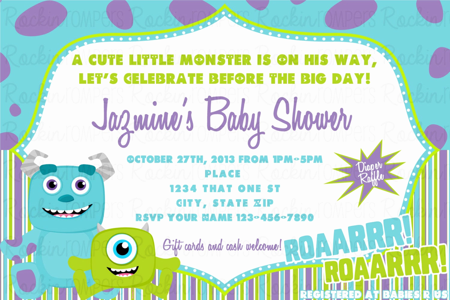 Monster Inc Invitation Template Inspirational Monsters Inc Baby Shower Invitation by Rockinrompers On Etsy