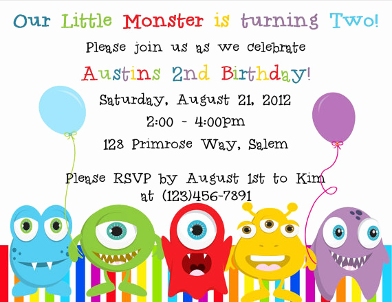 Monster Inc Invitation Template Lovely Little Monster Birthday Invitation Printable File On Luulla