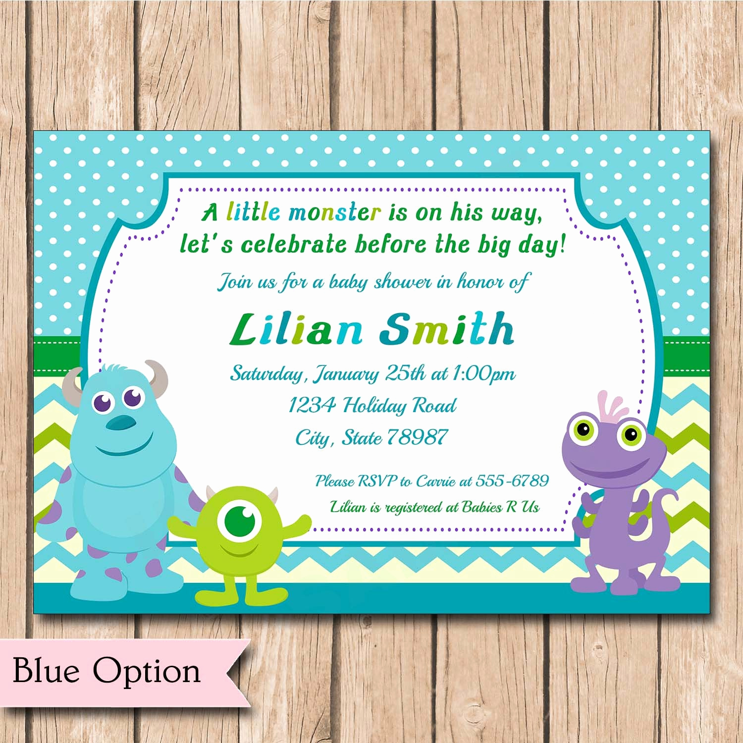 Monster Inc Invitation Template Luxury Mini Monsters Inc Baby Shower Invitation Boy or Girl