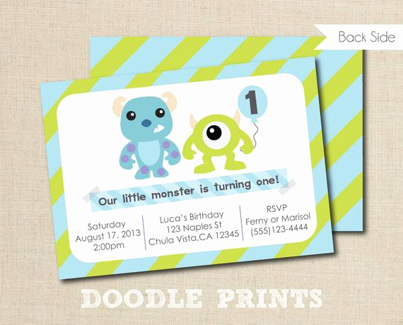 Monster Inc Invitation Template Luxury Monsters Inc Invitation Printable Birthday Party by