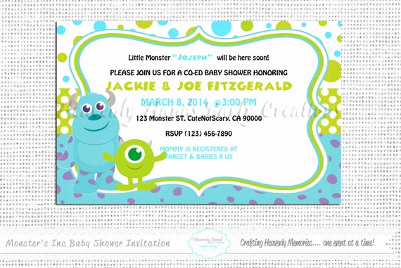 Monster Inc Invitation Template New Little Monsters Baby Shower Digital Invitation