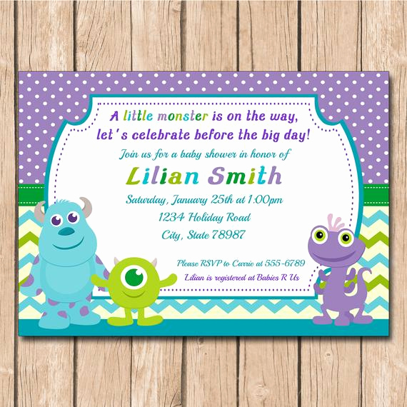 Monster Inc Invitation Template New Mini Monsters Inc Baby Shower Invitation by