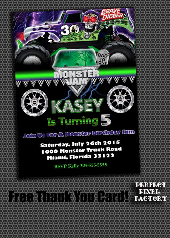 Monster Truck Invitation Templates Free Awesome 11 Best Monster Truck Birthday Party Images On Pinterest