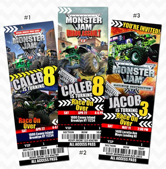 Monster Truck Invitation Templates Free Awesome Monster Jam Ticket Invitation Monster Jam Truck by asherprints