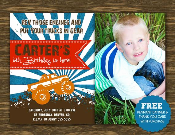 Monster Truck Invitation Templates Free Awesome Monster Truck Birthday Invitation Printable Free Pennant
