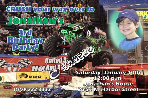 Monster Truck Invitation Templates Free Awesome Monster Truck Grave Digger Birthday Invitations
