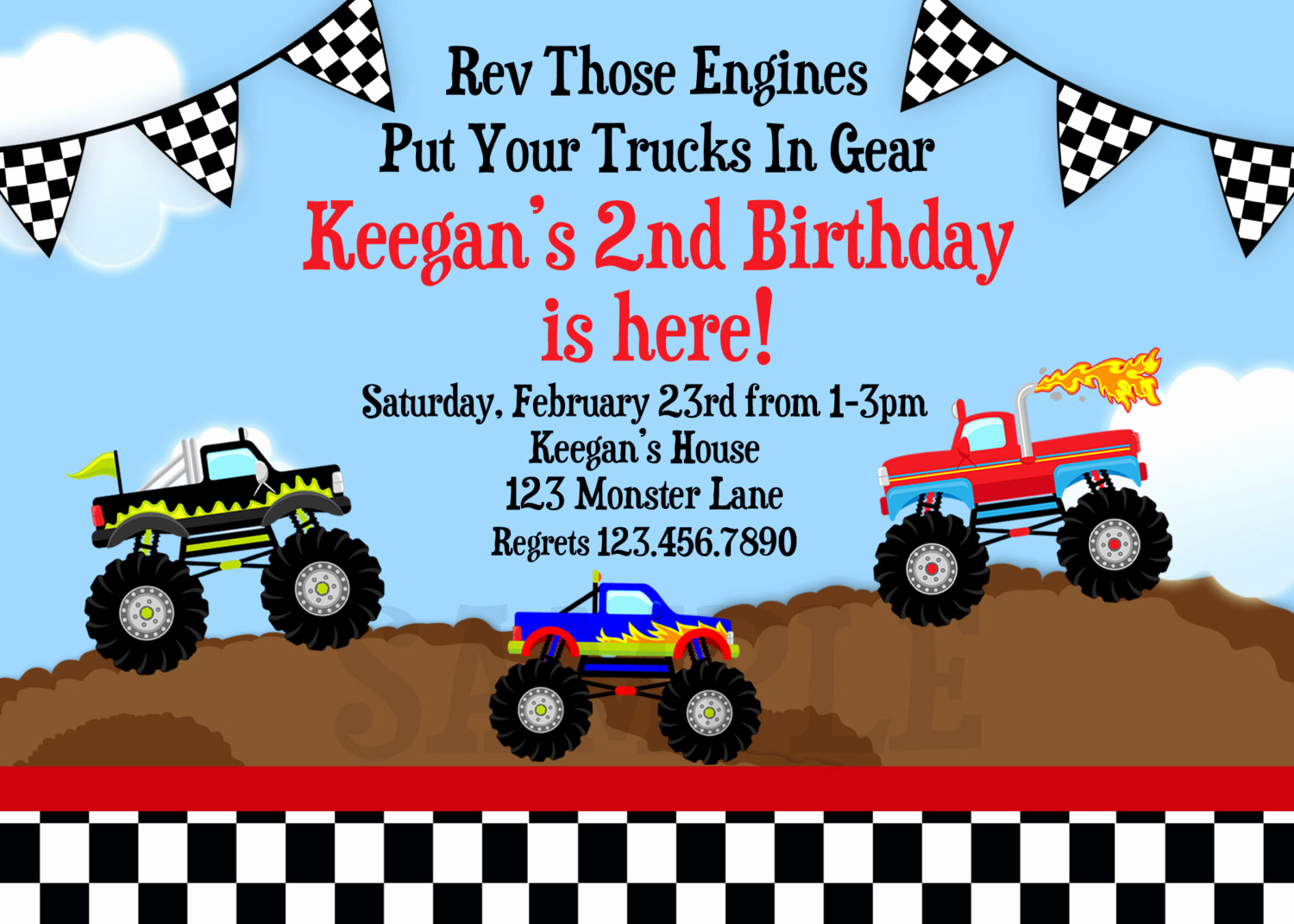 Monster Truck Invitation Templates Free Beautiful Monster Truck Birthday Invitation Truck by thetrendybutterfly