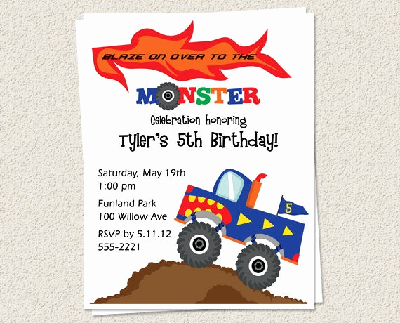 Monster Truck Invitation Templates Free Best Of 10 Birthday Party Invitations Monster Truck Boy Printed