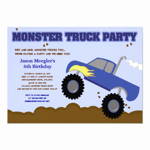 Monster Truck Invitation Templates Free Best Of Monster Truck 5x7 Birthday Invitations