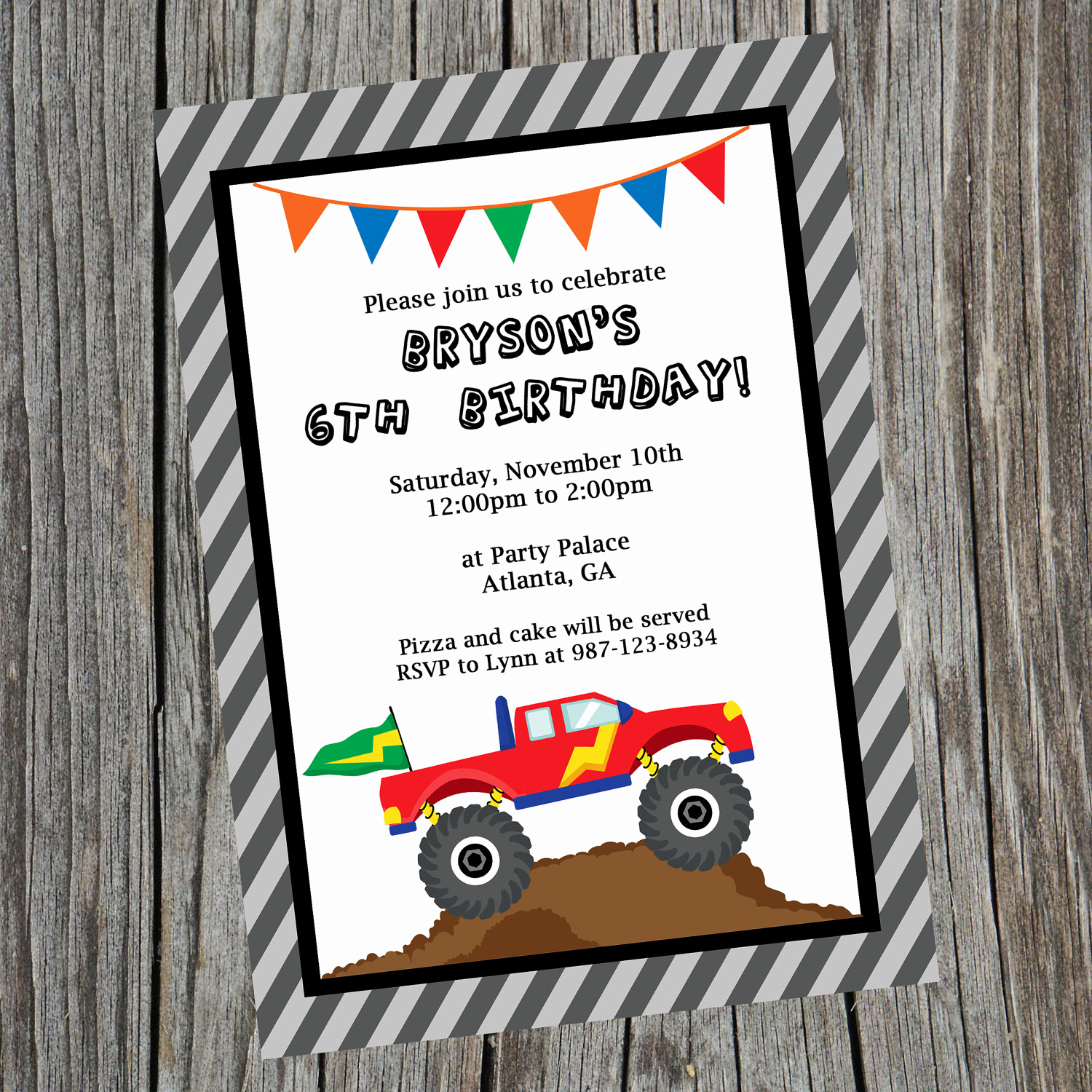 Monster Truck Invitation Templates Free Elegant Custom Printable Monster Truck Birthday Party Invitation