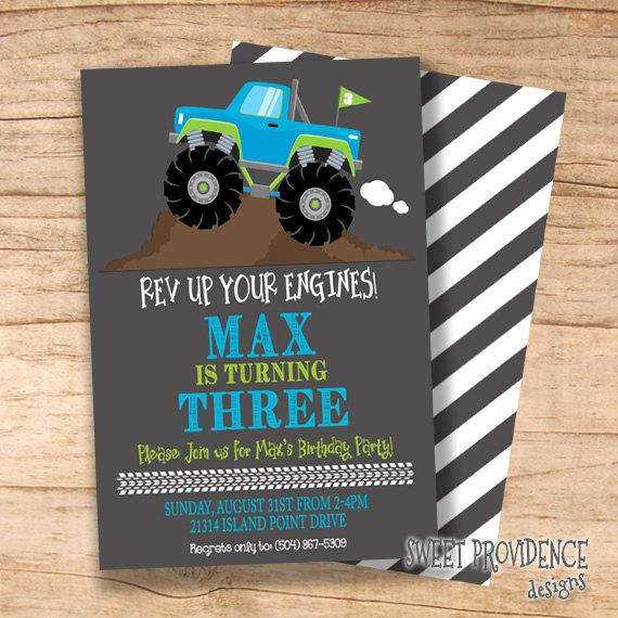 Monster Truck Invitation Templates Free Elegant Monster Truck Birthday Invitation Boys Birthday Invitation
