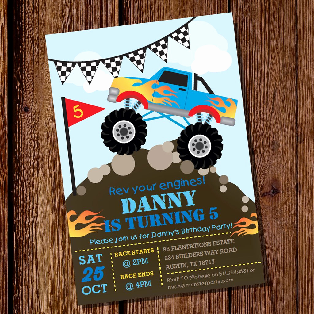 Monster Truck Invitation Templates Free Elegant Monster Truck Party Invitation