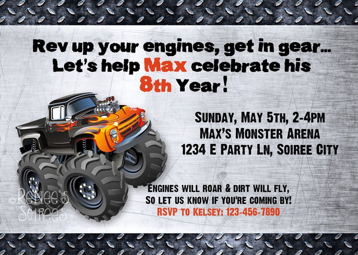 Monster Truck Invitation Templates Free Fresh 12 Best Monster Truck Party Images On Pinterest