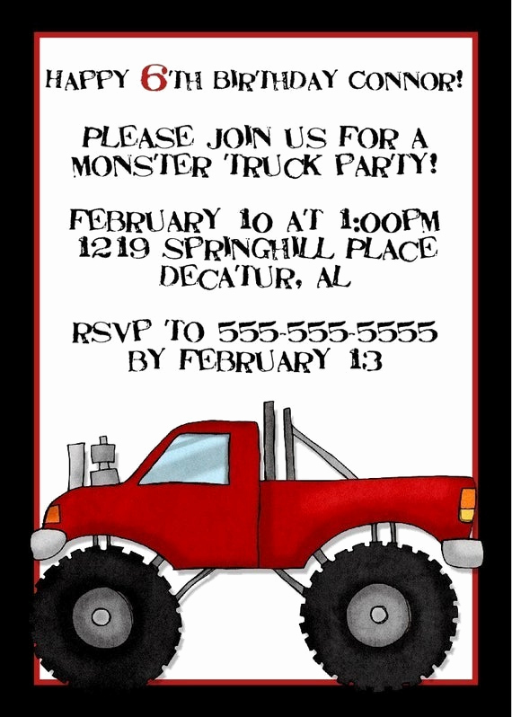 Monster Truck Invitation Templates Free Fresh Monster Truck Birthday Invitation 5x7 Digital by