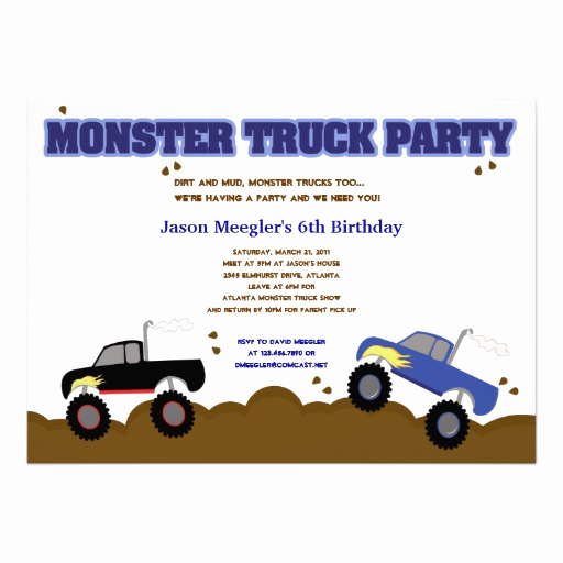 Monster Truck Invitation Templates Free Fresh Personalized 4x4 Invitations