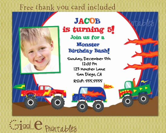 Monster Truck Invitation Templates Free Inspirational Monster Truck Birthday Invitations Ideas – Free Printable