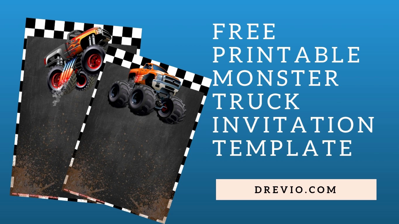 Monster Truck Invitation Templates Free Lovely Free Printable Monster Truck Invitation Templates