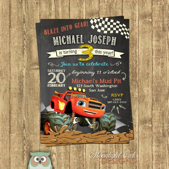Monster Truck Invitation Templates Free Luxury Items Similar to Blaze Monster Truck Birthday Invitations